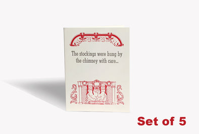 Set of 5 - Well Hung Stocking Christmas Card