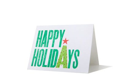 Set of 5 - Happy Holidays 3 Color Letterpress Card