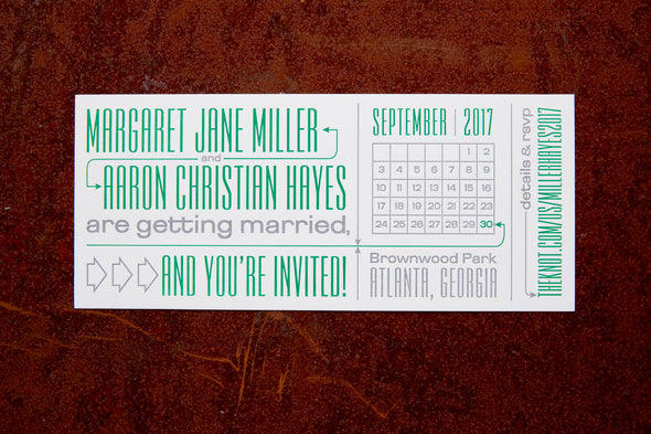 Two Color Letterpress Wedding Invitation