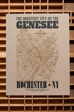 Rochester NY Mightiest City on the Genesee 11 x 14 Letterpress Poster