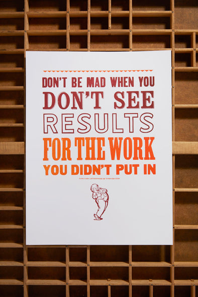 Don't be Mad Small Letterpress Poster