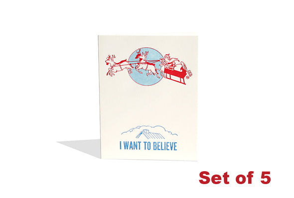Set of 5 - I Want to Believe - In Santa