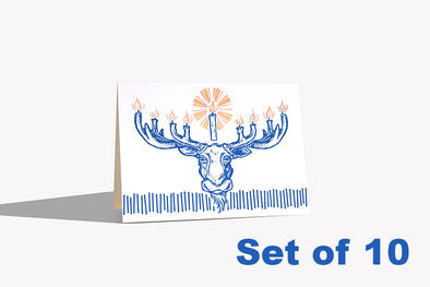 Set of 10 - Moose-nora Letterpress and Foil Stamped Card