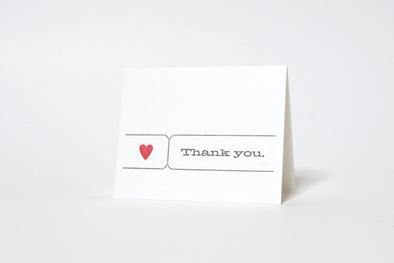 Thank you - Heart Letterpress Greeting Card