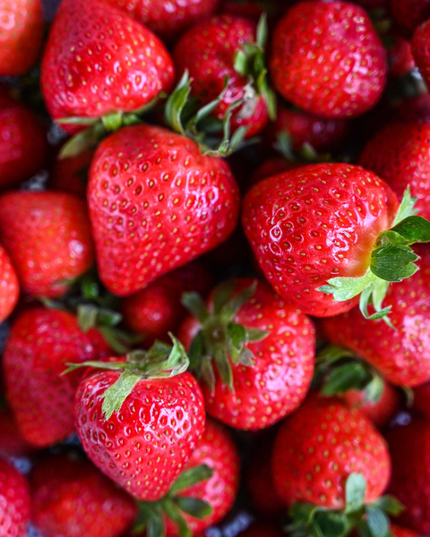 can dogs eat strawberries: Close up shot of strawberries
