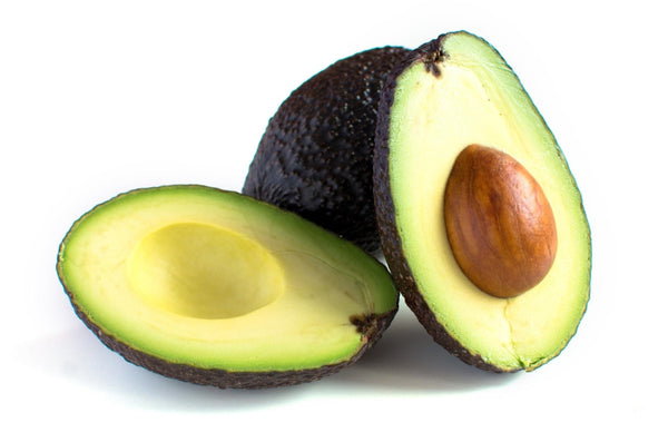 can dogs eat avocados: Avocado sliced in half leaning against a white background