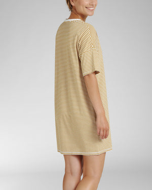 Cyell Stripe Ochre | Short Sleeve Nightdress - Lalingerie.ca Lalingeire.ca, Canada, , small, medium, large, extra large, Cyell, pyjamas, homewear, sleepwear, bathrobes, swimwear, bikini, bikini top, bikini bottom,