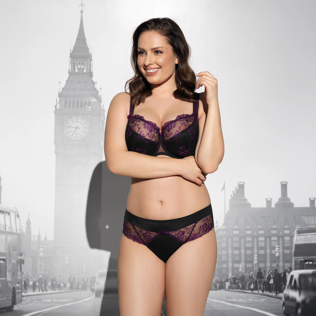 lalingerie, virginia by corin full cup bra half padded, half lace, black and purple, free shipping across canada orders over $80
