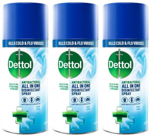 Dettol All-in-One Disinfectant Spray Crisp Linen, 400 ml (Pack of 3)
