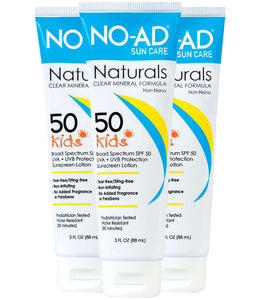NO-AD Naturals Clear Mineral Formula SPF 50 Kids, 3 Ounce (Pack of 3)