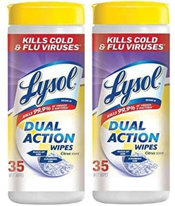 Lysol Dual Action Disinfecting Wipes, Citrus, 35 ct (Pack of 2)