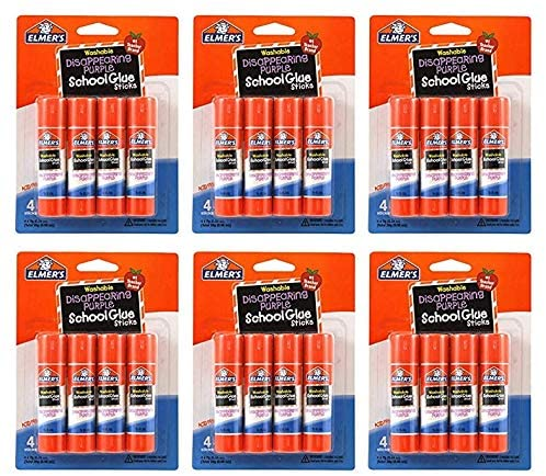 Elmer's Disappearing Purple Washable School Glue Sticks, 0.24 oz, 4 Count (Pack Of 6)