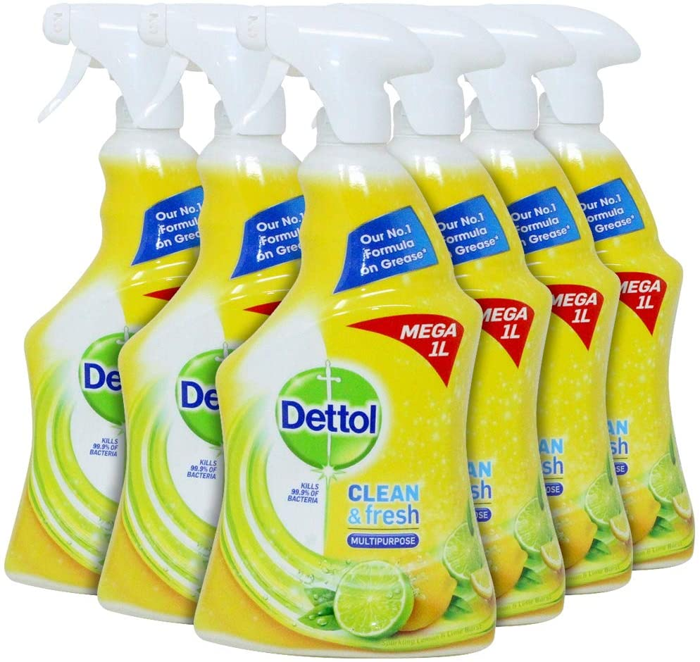 Dettol Power & Fresh Multi-purpose Spray, Citrus, 1 Liter (Pack of 6)