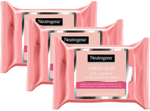 Neutrogena Visible Clear Facial Cleansing Wipes with Pink Grapefruit, 25 Count (Pack of 3)