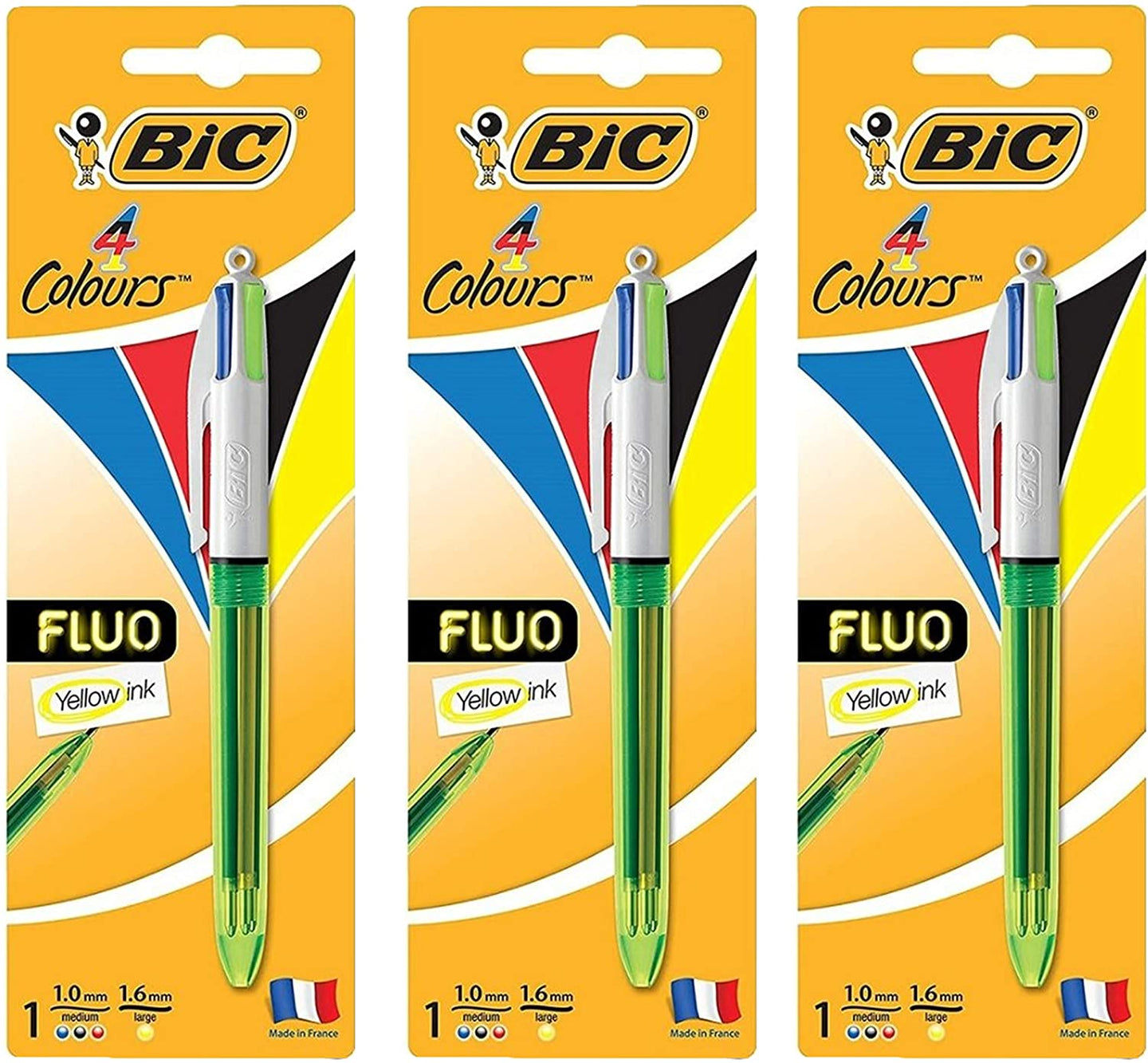 BIC 4 Colors Fluorescent Ink Ball Point Pen, Multicolor Pen Perfect for School Crafts Activities and Office (Pack of 3)