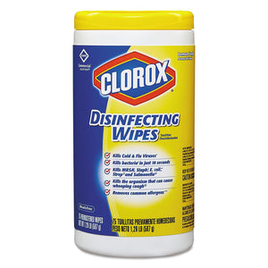 Clorox Disinfecting Wipes, Lemon Fresh, Tub of 75 Wipes