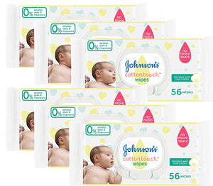 Johnson's Baby Wipes, Sensitive Cotton Touch, 56 Count (Pack of 6)