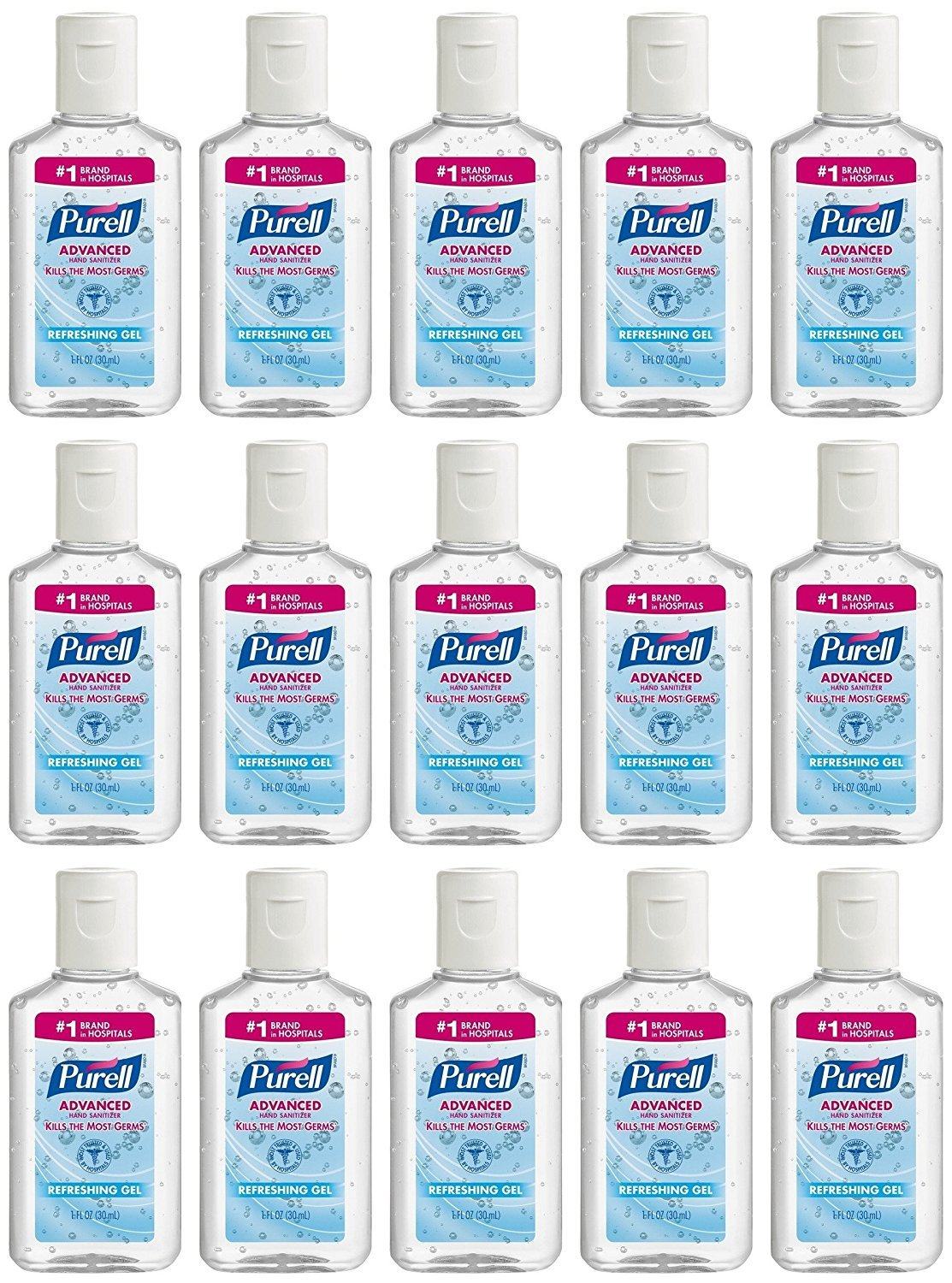 Purell Advanced Hand Sanitizer Refreshing Gel, 1 Fl Oz (Pack Of 15)