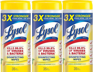 Lysol Disinfecting Wipes, Lemon and Lime Blossom, 35 ct (Pack of 3)