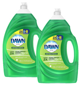 Dawn Ultra Antibacterial Hand Soap, Apple Blossom Scent, 2X More Grease Cleaning Power Dishwashing Liquid, 56 Ounces (Pack of 2)