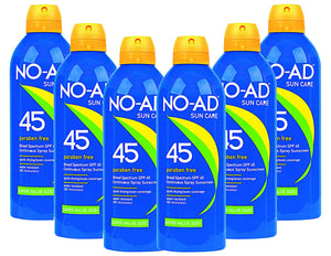 NO-AD Suncare SPF 45 Sunscreen Spray Paraben Free, 8.7 Ounce (Pack of 6)
