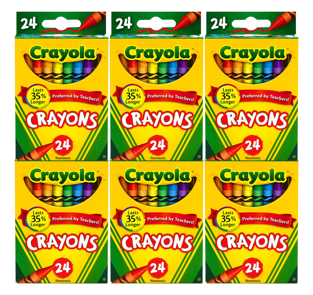 Crayola Durable Assorted Crayons, School & Art Supplies, 24 Count (Pack of 6)