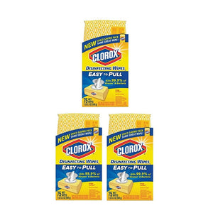 Clorox Disinfecting Easy To Pull Bleach Free Wipes, Crisp Lemon, 75 Count (Pack of 3)