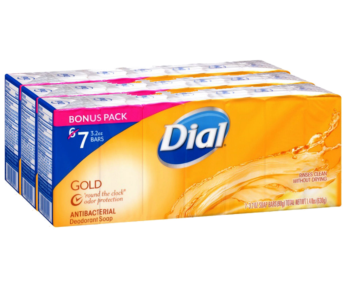 Dial Antibacterial Deodorant Soap, Gold, 3.2 Ounce, 21 Count