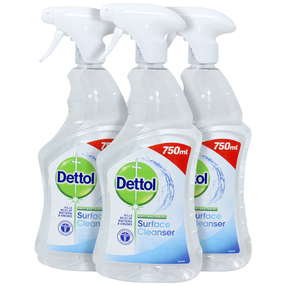 Dettol Antibacterial Surface Cleaning Spray, Bleach and Odor Free, 25.36 Ounces (Pack of 3)