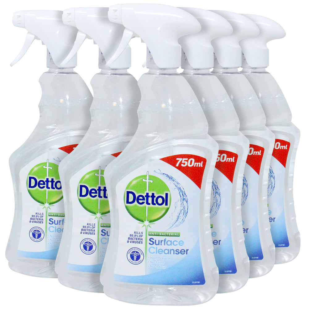 Dettol, All Purpose Multi Surface Cleaner Spray Bleach and Odor Free Ounces, Clear, 25.36 Fl Oz, (Pack of 6)