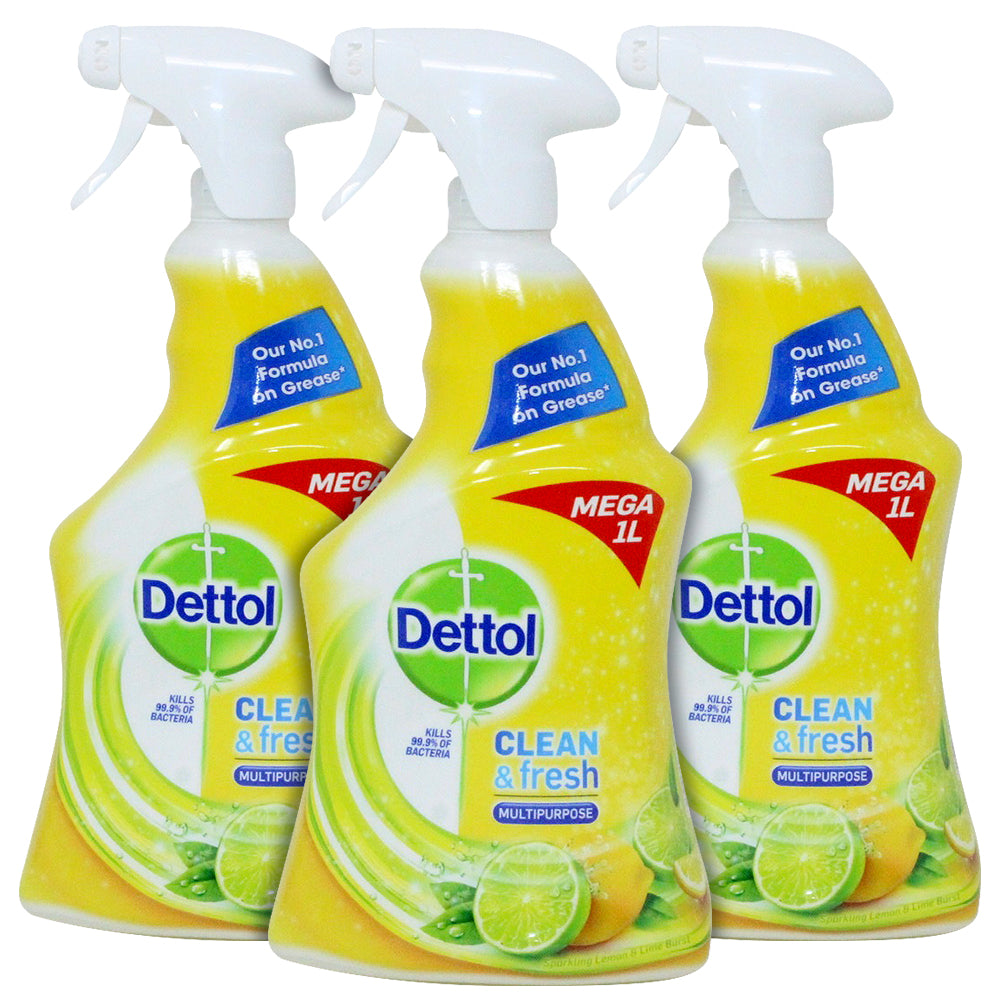 Dettol Power and Fresh Citrus Multi-Purpose Cleaner, 1 Litre, Pack of 3