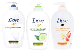 Dove Caring Liquid Hand Wash, Original + Cucumber & Green Tea + Shea Butter with Warm Vanilla Scent, 8.45 Ounce (Variety Pack of 3)