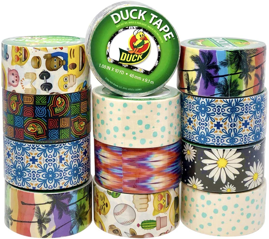 Duck Duct Tape, Assorted Styles & Print, 12 Decorative Rolls Variety Pack