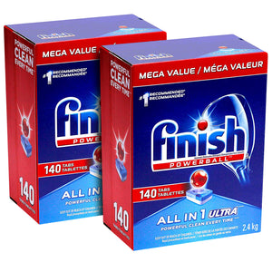 Finish All-in-One Ultra Dishwasher Detergent Powerball Tablets, Fresh Scent 140 Count (Pack Of 2)