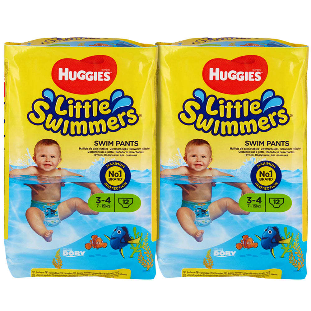 Huggies Little Swimmers Disposable Swim Diapers, Swimpants, Size 3 Small (16-26 lb.), 12 Ct. (Pack Of 2)