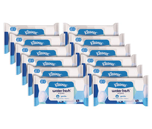 Kleenex Water Fresh Wipes For Face and Hands With Aloe and Vitamin E, Gentle Sheets, 40 Count (Pack Of 12)