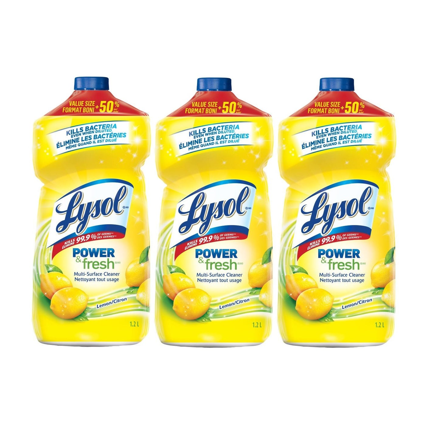 Lysol Power & Fresh Multi-Surface Cleaner, Lemon Scent, 40.6 Ounce (Pack of 3)