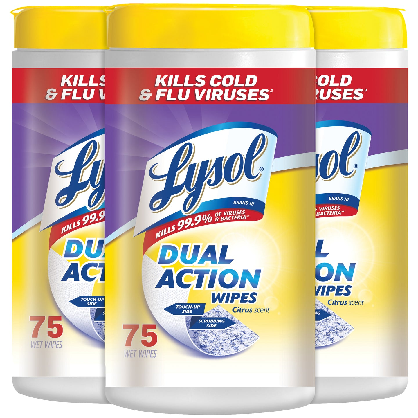 Lysol Dual Action Disinfecting Wipes, Citrus Scent, 75 Count Pack of 3