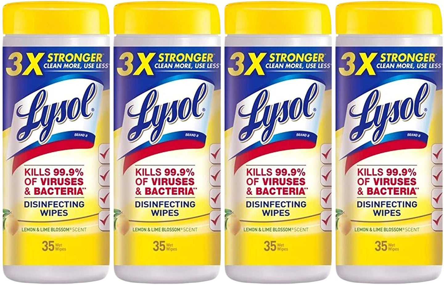 Lysol Disinfecting Wipes, Lemon & Lime Blossom, 35 Count, Pack of 4