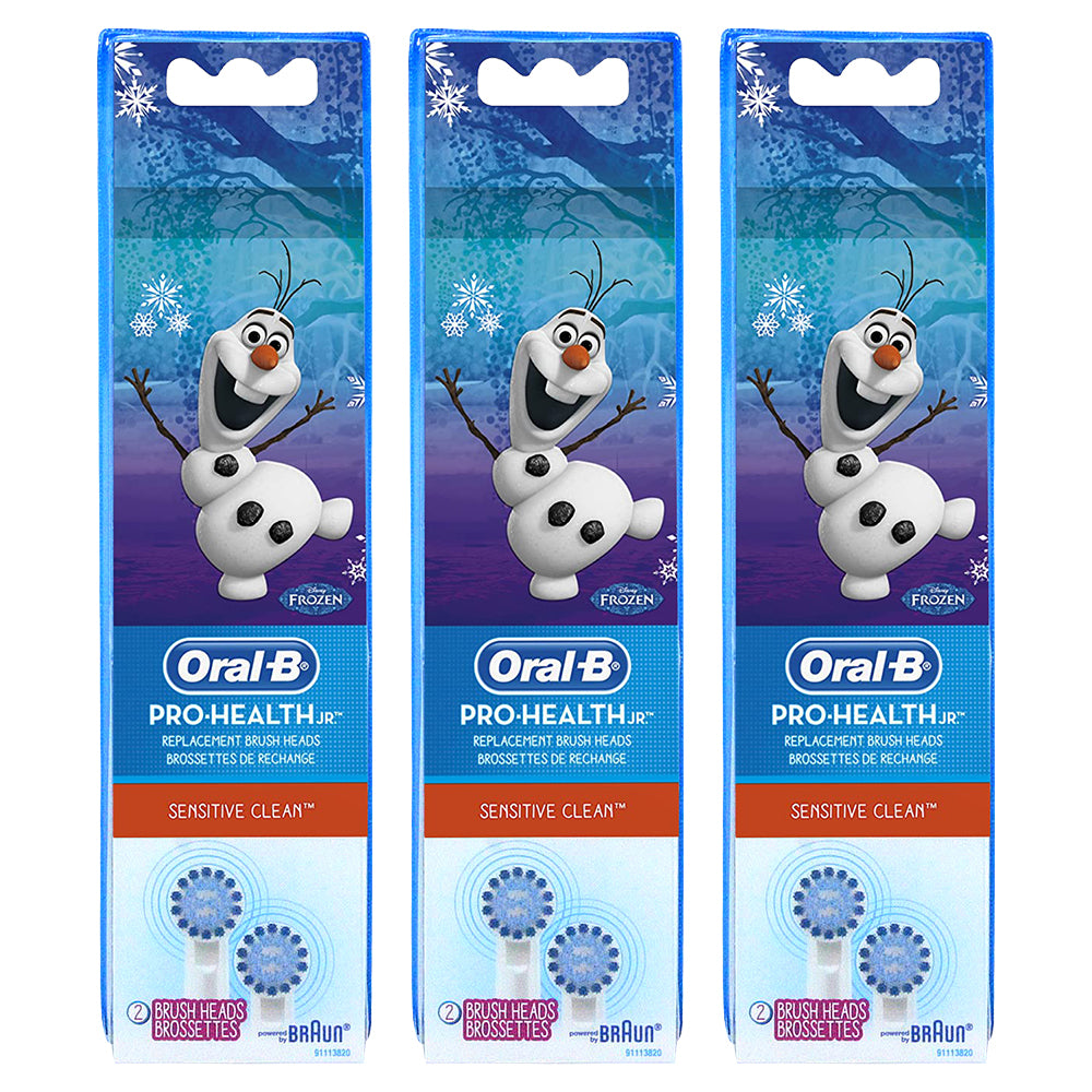 Oral-B Kids Extra Soft Replacement Brush Heads For Electric Toothbrush, Sensitive Clean, Featuring Disney's Frozen, 2 Count, Kids 3+ (Pack Of 3)
