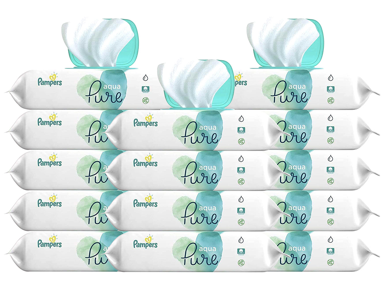 Pampers Aqua Pure Sensitive Water Baby Diaper Wipes, Hypoallergenic and Unscented, 14 x Pop-Top Packs, 672 Count