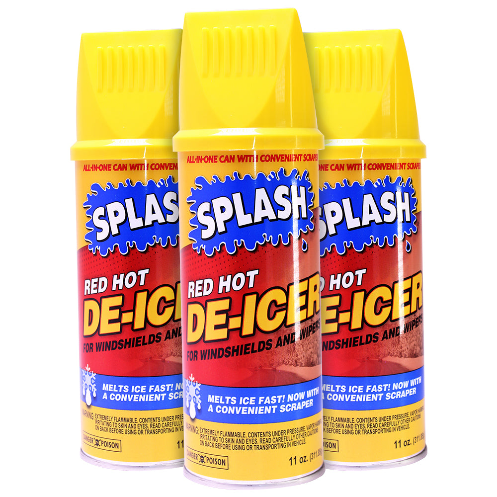 Splash Red Hot De-Icer Windshield and Wiper Aerosol Spray, 11 Ounce (Pack of 3)