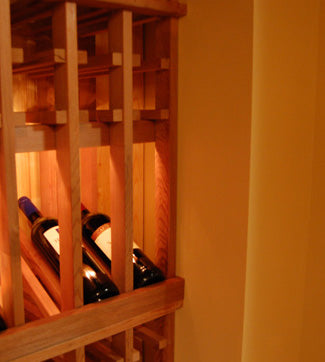Wine cellar racking column spacing to fit room