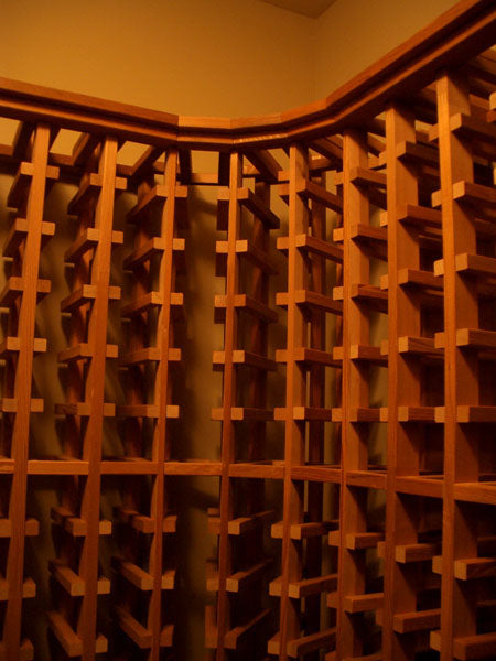 Properly done Wine cellar racking corner unit with NO double verticals