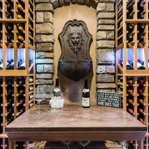 Custom wine cellar with wall fountain