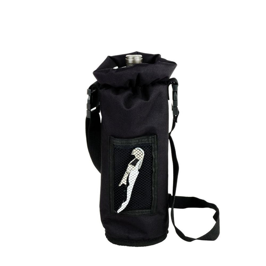 Insulated wine champagne bottle cooler case that you can pour from without removin