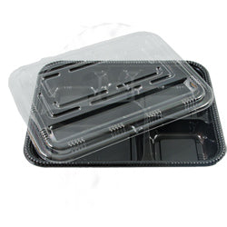 5 HOLE BENTO BOX BLACK 400PCS SET KS-84 - JP Supplies