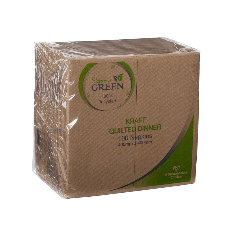 NAPKIN DINNER QUILTED KRAFT GT FOLD GREEN - JP Supplies
