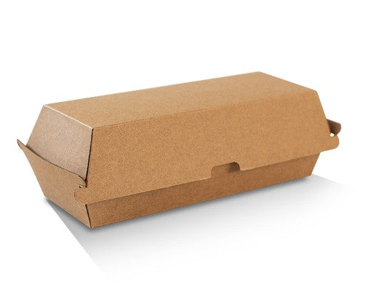 HOT DOG BOX BROWN CORRUGATED KRAFT PLAIN 200PCS - JP Supplies