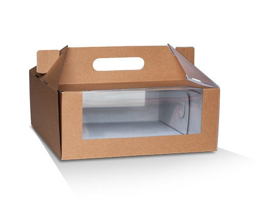 "CARRY CAKE BOX PACK BROWN 10"" 50PCS - JP Supplies"